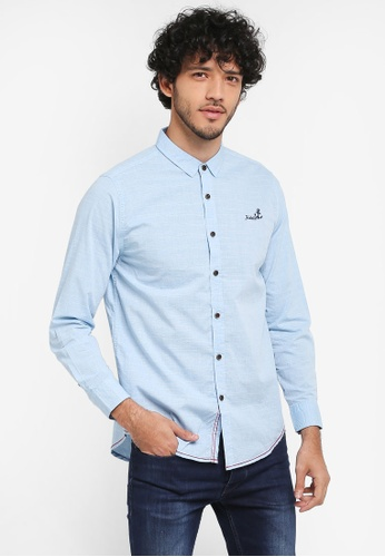 Fidelio blue Micro Collar Long Sleeves Shirt 21DD8AA503B139GS_1