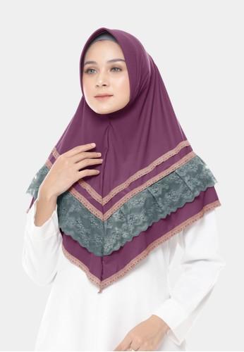 zelena purple Hijab Victoria Lace Bergo - Dusty Purple 39A97AA3F8675FGS_1