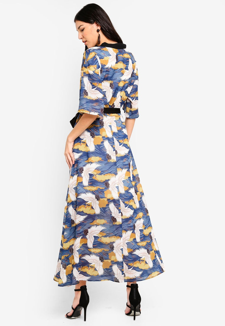 Liquorish Maxi Multi Wrap Bird Dress Print ZRwFxzqI