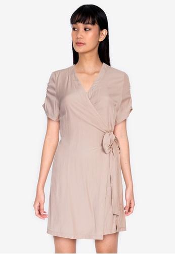 ZALORA BASICS beige Short Sleeves Wrap Dress B1711AA0F399CAGS_1