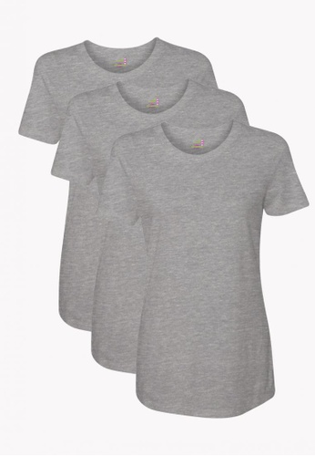 ORGANIC grey 3 Pack Ladies Round Neck Tshirt 7D09EAA526DE2BGS_1