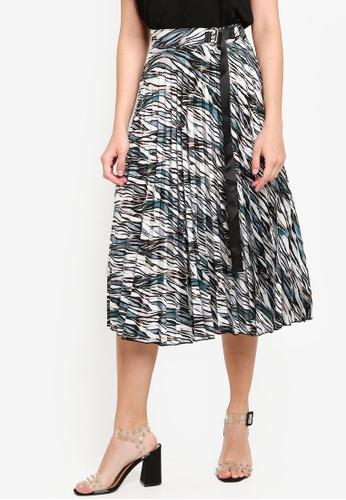 LC Waikiki 綠色 Patterned 褶飾綢緞 Skirt With 側腰帶 F09DFAA5C5E4F2GS_1