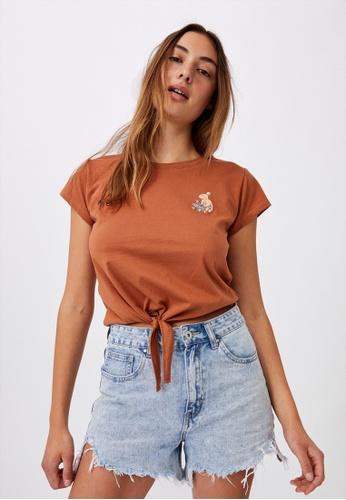 Cotton On brown Tie Front Graphic Tee A211BAAFFB783EGS_1