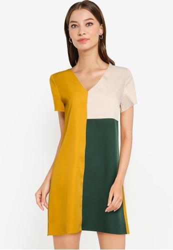 ZALORA WORK multi Colourblock V Neck Dress 326FDAA9D460AFGS_1