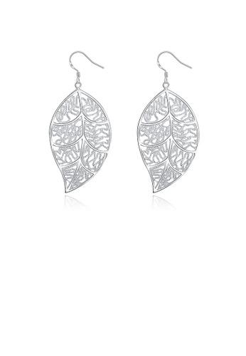 Glamorousky silver Simple Leaf Earrings 29D9BAC517112AGS_1