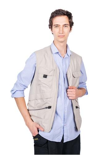 East Pole beige Men's 15 Pockets Fishing Vest 16CBEAA04F62E1GS_1