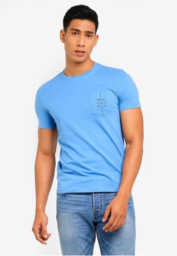 MANGO Man blue Logo Katun T-Shirt 16FA8AAD674EA4GS_1