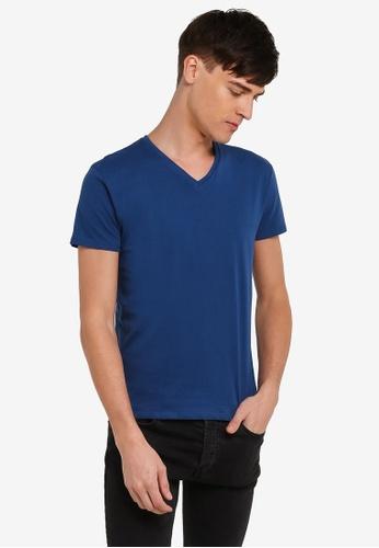 Electro Denim Lab blue Cotton V-Neck Tee EL966AA0RWIQMY_1