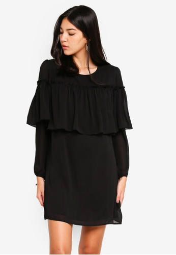 Glamorous black Long Sleeve Ruffle Mini Dress 90890AA4A926EEGS_1