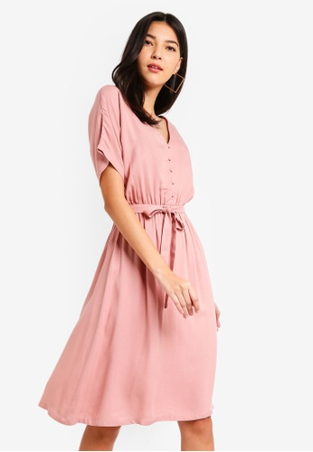 ZALORA pink Button Detail Fit And Flare Dress AC88DAA5D0B37EGS_1