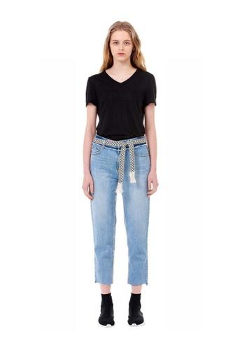 G-CUT black Black V-Neck Linen-Blend T-Shirt With Patch Pocket F5214AAE97F76BGS_1
