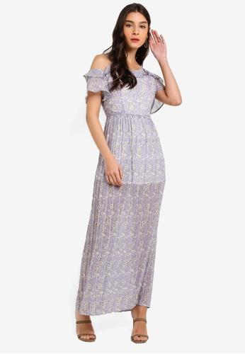 ZALORA purple Cold Shoulder Pleated Dress E3F48AAC3301CBGS_1