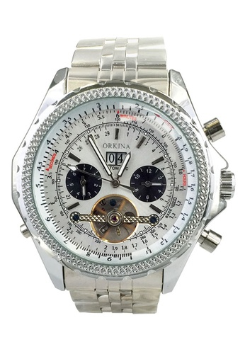 Chronomart silver Exquisite Day Display Dial Automatic Tourbillon Stainless Steel Men's Wrist Watch CH783AC38KHXPH_1