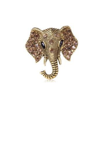 Glamorousky brown Fashion and Simple Plated Gold Elephant Brooch with Brown Cubic Zirconia CA96BACC906F1FGS_1