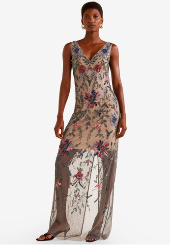 Mango brown Embroidered Tulle Dress 1B883AA205EE9DGS_1