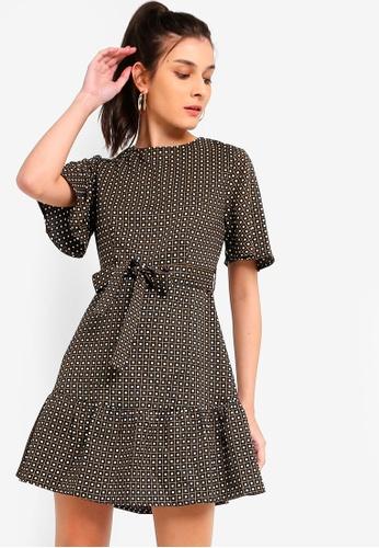 ZALORA black and multi Ruffles Hem Fit And Flare Dress 5C6CCAAF86BE2DGS_1