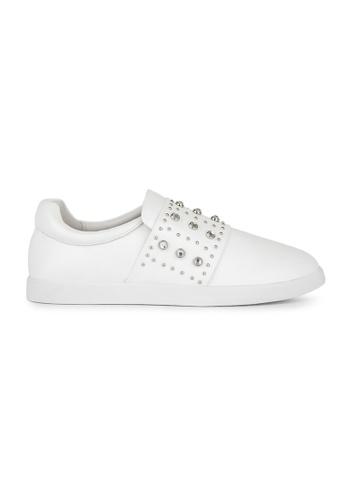 MAUD FRIZON white Calf Leather Sneaker With Rhinestone Grommets & Mini Studs 35822SHAC70E24GS_1