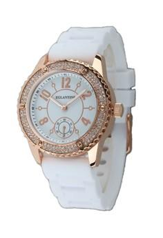 Eglantine Vanessa Quartz Watch Steel, On Rubber Strap, 14WR-VAN02-CR