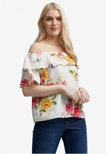 Dorothy Perkins white Floral Double Ruffle Bardot Top B5EC9AA6094F74GS_1