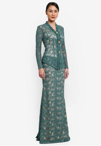 Syomirizwa Gupta for ZALORA green Salmah Kebaya SY518AA0SXLZMY_1