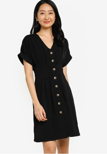 ZALORA BASICS black Pleated Detail Button Down Dress 1B221AA0085E47GS_1