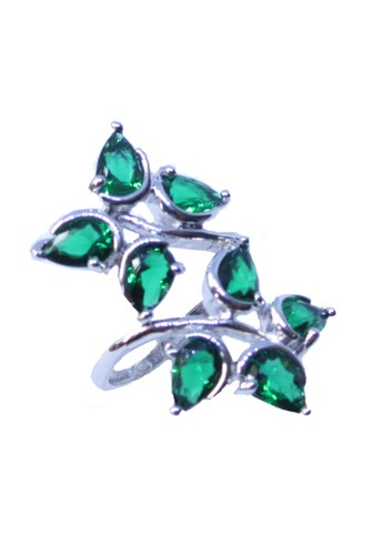 San Marco green and silver Olympia Leaf Ring Green SA720AC0W05RID_1