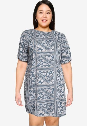 Only CARMAKOMA blue Plus Size Super Life Tunic Dress 160C9AA213CE68GS_1