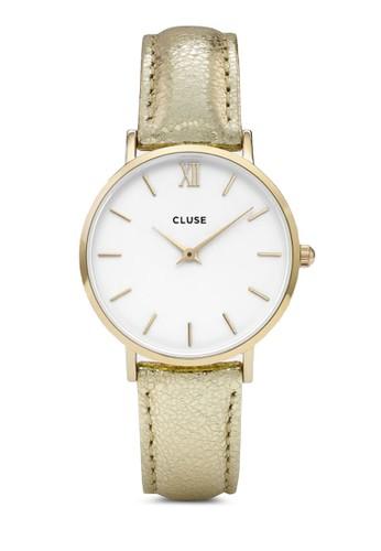 Minuit CL30036 奢華真皮帶圓錶, 錶類, 飾zalora 心得 ptt品配件