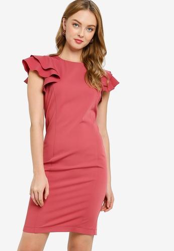 ZALORA WORK pink Ruffle Sleeve Shift Dress B5BB5AA03CF230GS_1