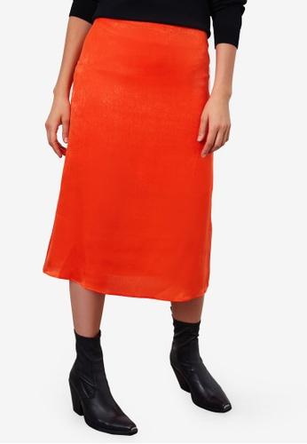 LC WAIKIKI orange Straight Fit Satin Skirt 4EEB5AAD1745F2GS_1
