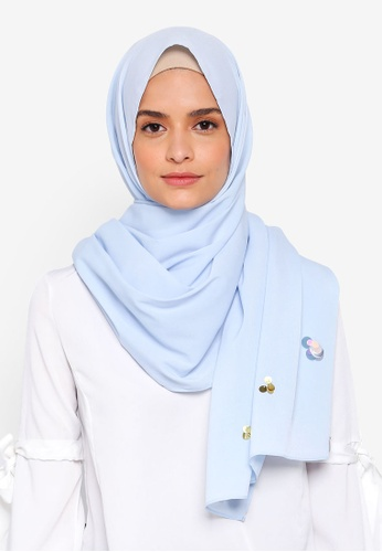 Lubna blue Crepe Shawls and Scattered Sequin 5E5ABAA77932C3GS_1