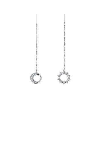 Glamorousky white 925 Sterling SilverSimple Moon Star Tassel Asymmetric Earrings with Austrian Element Crystal 4AEABAC30FE802GS_1