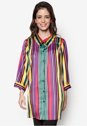 七彩條紋長版長袖襯衫, 服飾esprit hong kong, 上衣