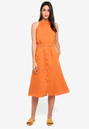 WAREHOUSE orange Linen Halter Neck Midi Dress AC471AA1E76CAEGS_1