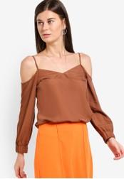 WAREHOUSE brown Cami Cold Shoulder Top WA653AA44ECDMY_1