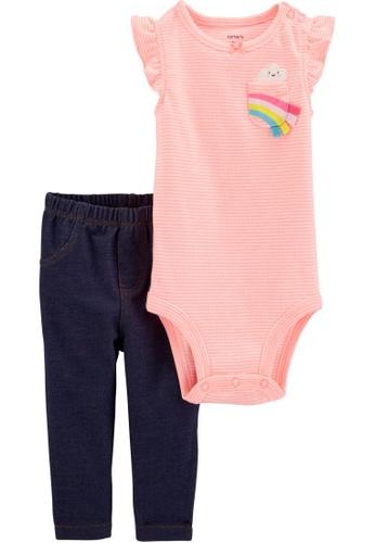 Carter's pink CARTER'S Girl Rainbow Bodysuit & Pant Set EE5B8KA618FCE3GS_1