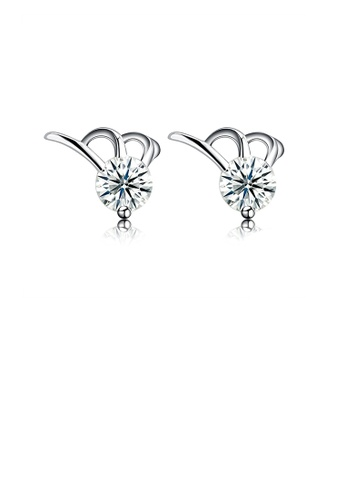 Glamorousky white 925 Sterling Silver Simple Mini Elegant Ear Studs and Earrings with Cubic Zircon 7DF73AC4061D6BGS_1