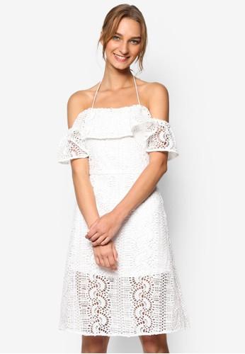Calloway 鉤針露肩短袖連身裙, 服飾, 洋zalora taiwan 時尚購物網裝