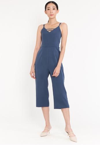 BEBEBEIGE blue BebeBeige Cross Back V neckline Wide-Leg Jumpsuit F141EAA475CC46GS_1