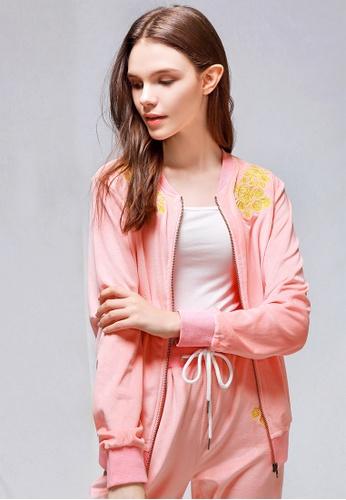 London Rag pink Pink Velvet Embroidery Jacket 61101AA7BEFE6BGS_1