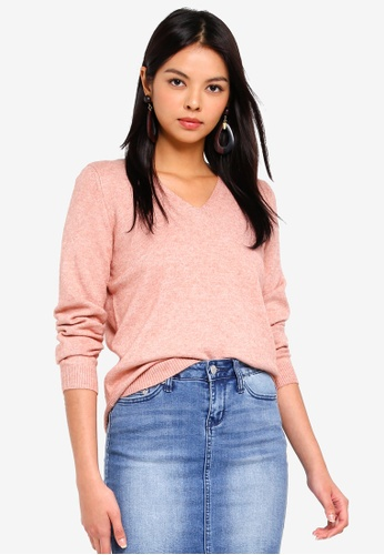 ONLY pink Queen V-Neck Pullover CC0C0AA4C34D9BGS_1