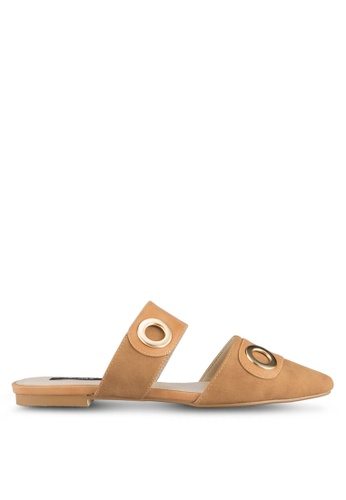 ZALORA brown Eyelets Pointed Toe Flats 6BD94SH4C437C8GS_1