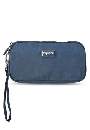 Bagstationz navy Crinkled Nylon Wristlet Pouch D0320AC3FFC125GS_1