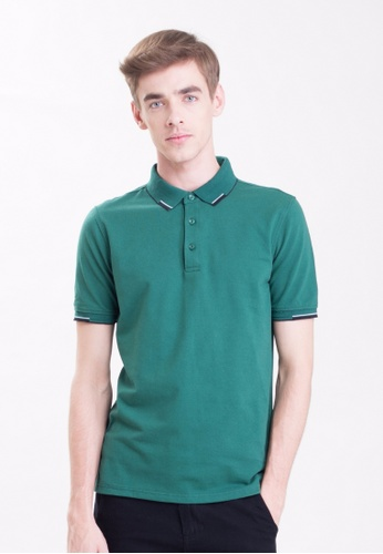 Drum Single Striped Collar Polo Shirt-Grn DR425AA0RSCAMY_1