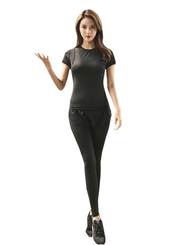 B-Code black ZYG5160-Lady Quick Drying Running Fitness Yoga Sports Top and Leggings with Shorts-Black 4E811AA201EDB1GS_1