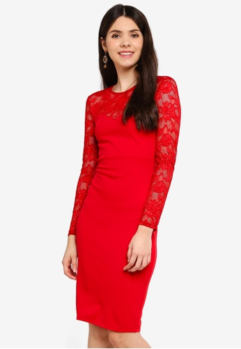 Goddiva red Lace Neck Midi Dress B29CCAAE25B000GS_1