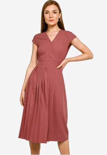 ZALORA WORK pink Pleat Detail Midi Dress 1A657AA0C56A78GS_1