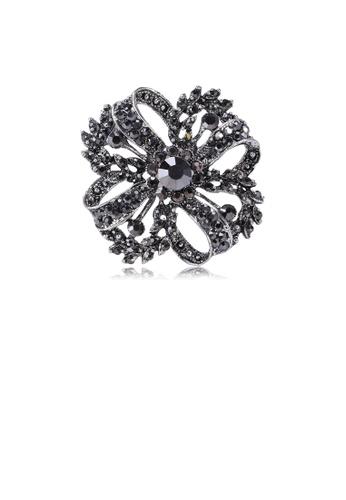 Glamorousky black Fashion and Elegant Flower Brooch with Black Cubic Zirconia 039CDACB8BEBEAGS_1