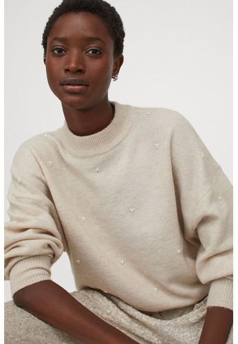 H&M beige Studded jumper B8259AA5E3F44AGS_1