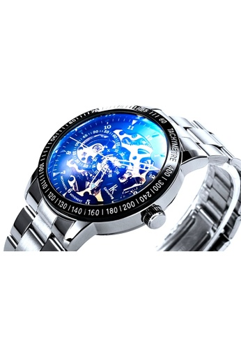 Ik Colouring lk Colouring Men Automatic Movement Mechanical Watch Silver Strap Blue Glass IK781AC05HTEMY_1